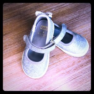 Silver shimmer Mary Jane keds by Kate spade